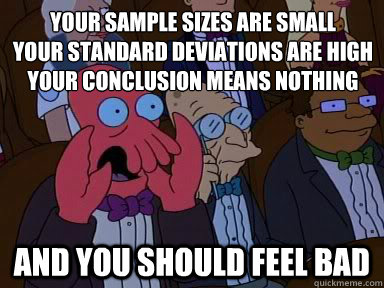 sample sizes standard deviations conclusions feel bad